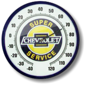 chevrolet 14 inch thermometer clock